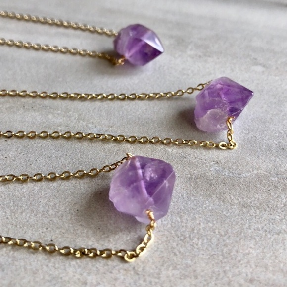 761e5e2fff7f3 Raw Amethyst Point Crystal Necklace Boutique